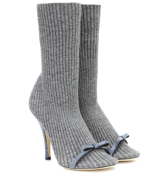 Marco De Vincenzo Embellished ribbed-knit ankle boots in grey