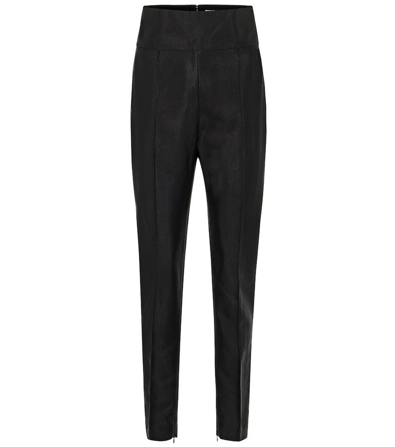 Alexandre Vauthier High-rise skinny cotton-blend pants in blue
