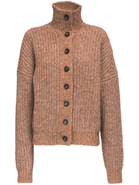 LOULOU STUDIO Canto Wool Knit Cardigan in beige