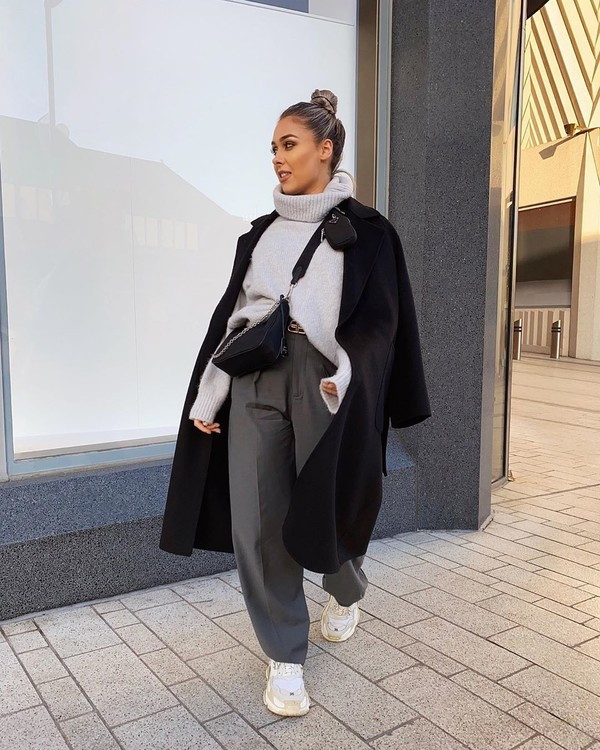 coat black coat long coat sneakers straight pants turtleneck sweater black bag