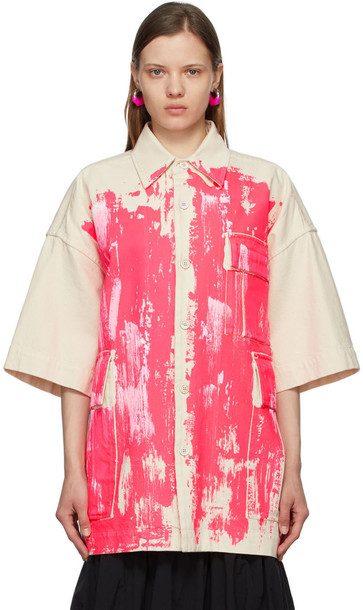 Marni Beige & Pink Canvas Painted Coat