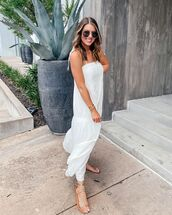 dress,maxi dress,white dress,sleeveless dress,flat sandals