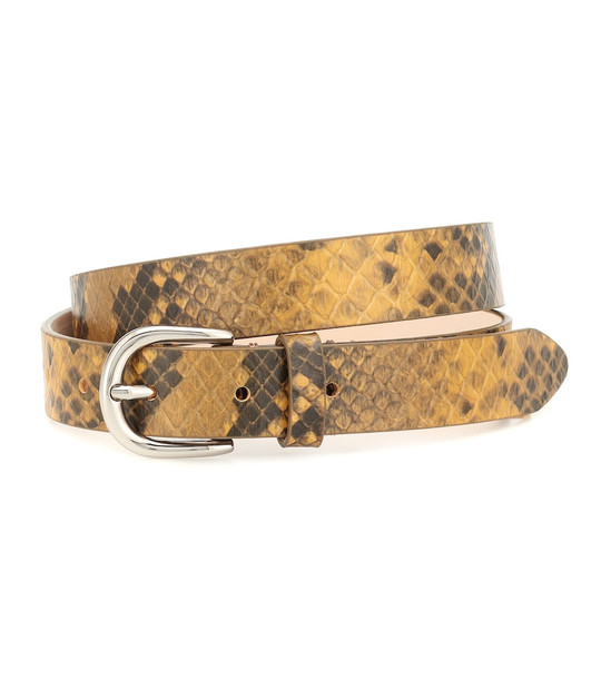 Isabel Marant Snake-effect leather belt in yellow