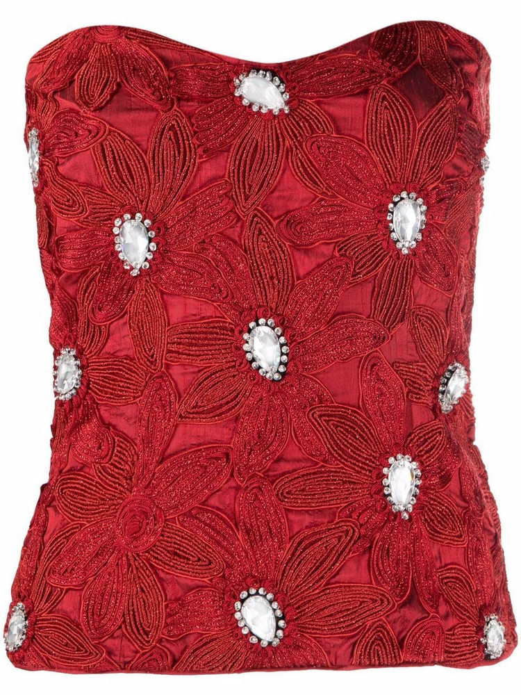 A.N.G.E.L.O. Vintage Cult 1980s bead-embroidered strapless top in red