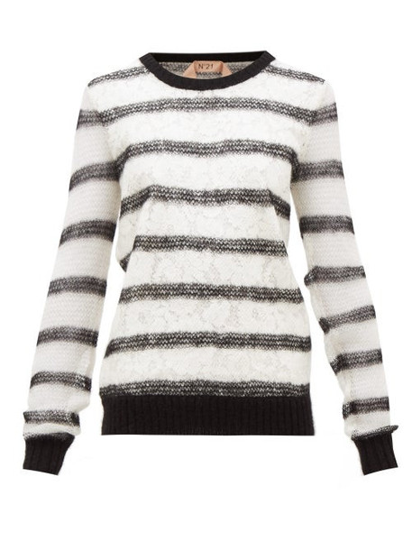 No. 21 - Chantilly-lace And Mohair-blend Sweater - Womens - Black White
