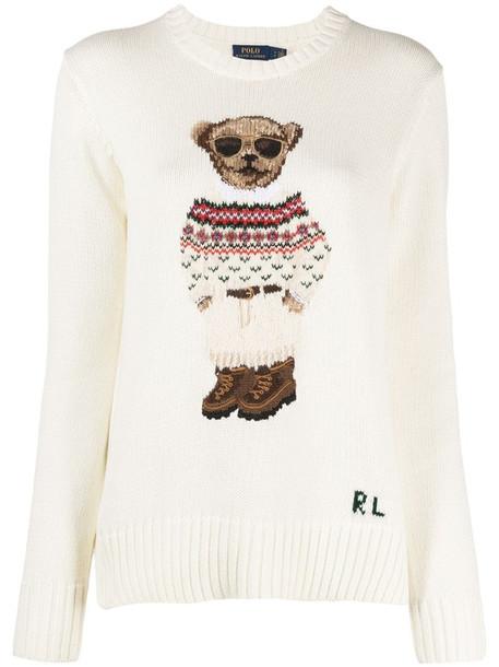 Polo Ralph Lauren Polo Bear intarsia-knit jumper in neutrals