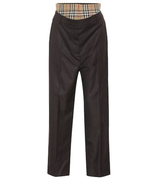 Burberry Check high-rise straight wool pants in brown