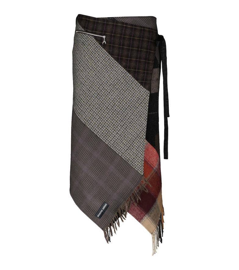 Marine Serre Regenerated tartan wool wrap skirt