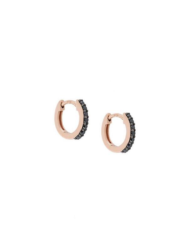 Astley Clarke 14kt gold Mini Halo black diamond hoop earrings