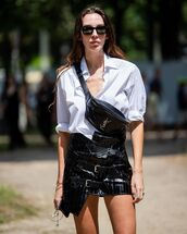 bag,belt bag,ysl,mini skirt,black skirt,white shirt