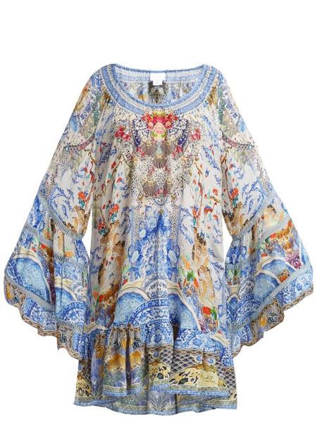 Camilla - Geisha Gateways Silk Dress - Womens - Blue White