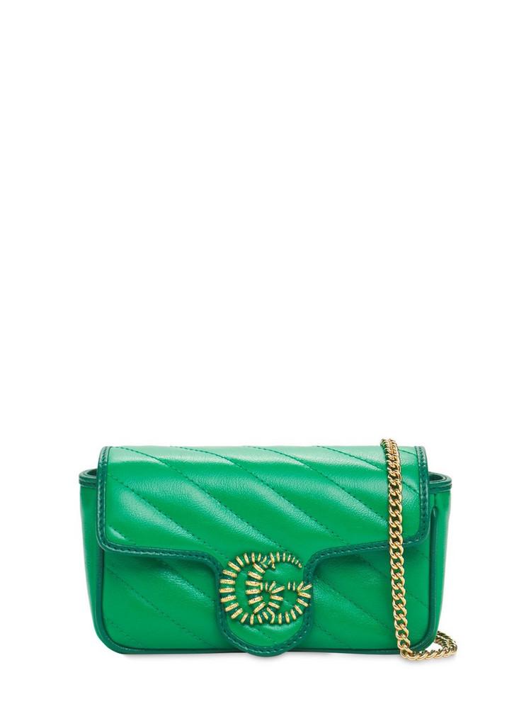 GUCCI Gg Marmont Matelassé Super Mini Bag in green