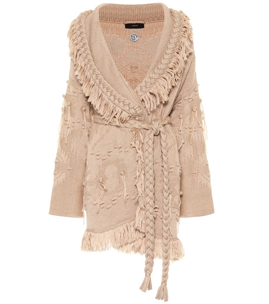 Alanui Wool, silk and cashmere cardigan in beige