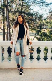 to be bright,blogger,coat,shoes,belt,bag,ripped jeans,spring outfits,trench coat