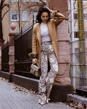 pants,wide-leg pants,floral,shoes,handbag,fendi,brown coat,zara,white t-shirt,top