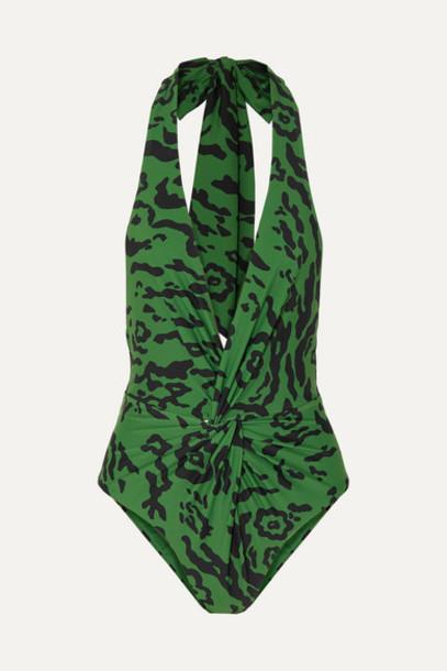 Self-Portrait - Leopard-print Knotted Halterneck Swimsuit - Green