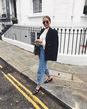 jeans,mom jeans,high waisted jeans,black loafers,black coat,double breasted,white sweater,cable knit,black bag,crossbody bag,black belt