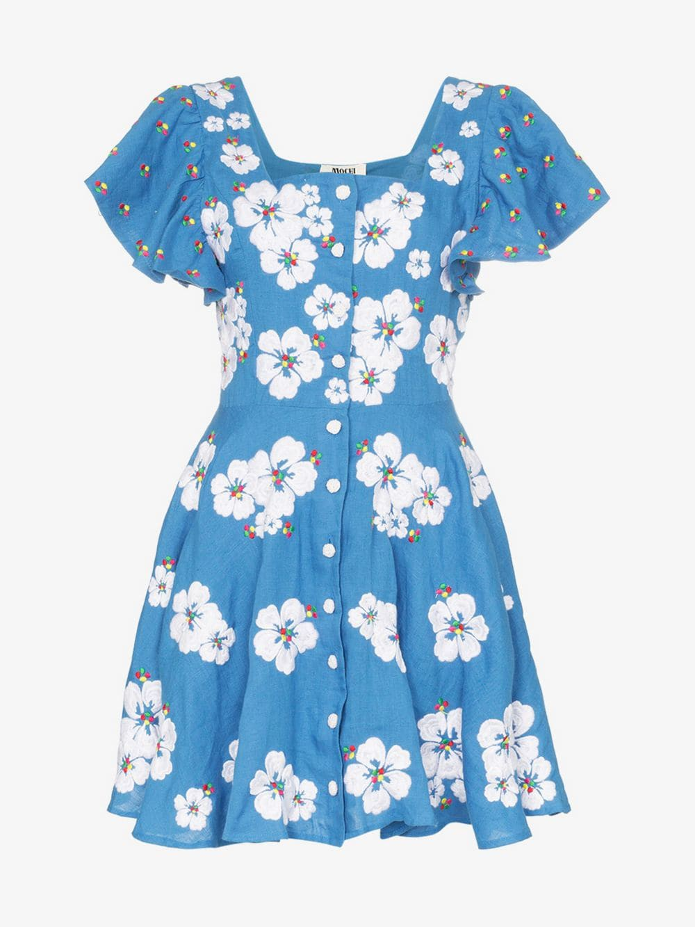All Things Mochi Kay floral embroidered mini-dress in blue