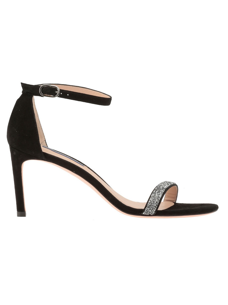 Stuart Weitzman Suede Leather Sandal in black