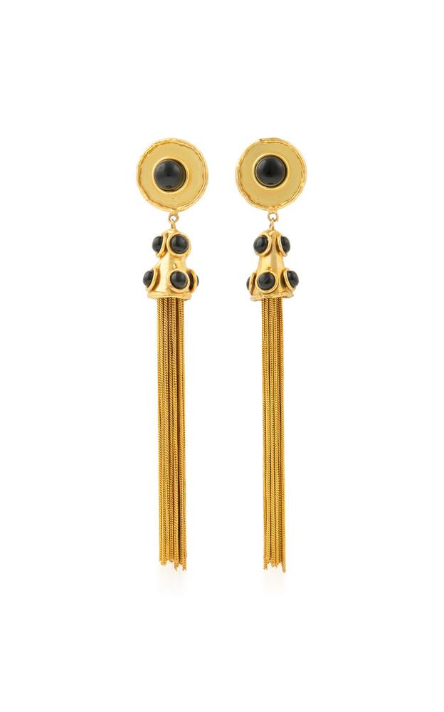 Sylvia Toledano Pompon Tasseled 22K Gold-Plated Brass Onyx Earrings in black