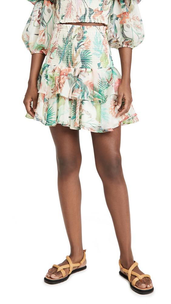 PatBO Oasis Shirred Miniskirt in white