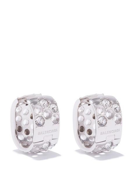 Balenciaga - Crystal-embellished Hoop Earrings - Womens - Crystal