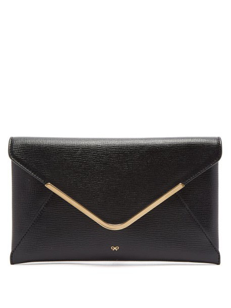 Anya Hindmarch - Postbox Grained Leather Envelope Clutch - Womens - Black