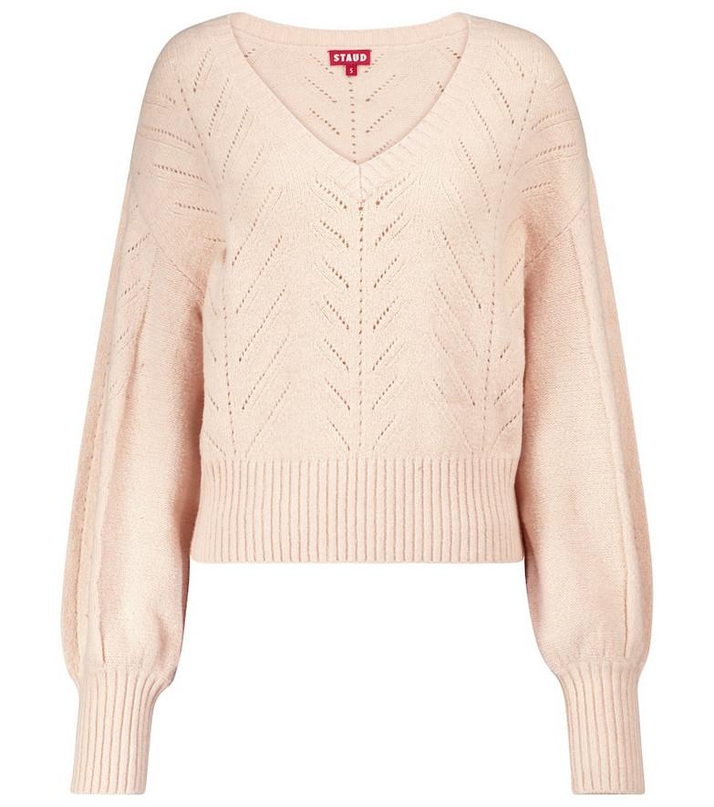 Staud Alberta pointelle-knit sweater in beige