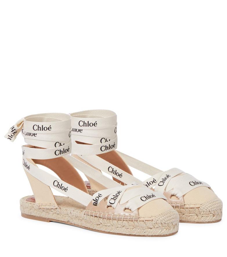 Chloé Lauren leather-trimmed espadrilles in beige