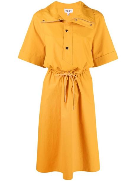 Kenzo short-sleeved midi dress in yellow