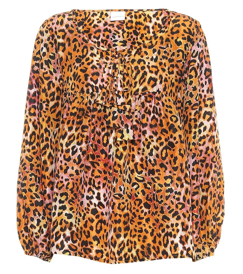 Anna Kosturova Exclusive to Mytheresa – Leopard-print silk blouse in orange