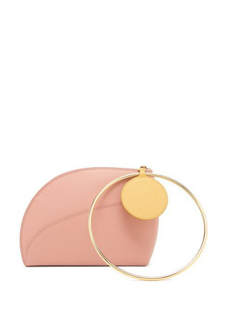 Roksanda - Eartha Dot Bi Colour Leather Clutch - Womens - Light Pink