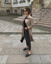 coat,trench coat,mules,black jeans,high waisted jeans,black top,black bag