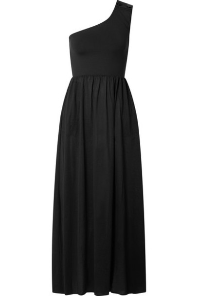 Eres - Pop Bay Button-detailed One-shoulder Cotton-jersey Dress - Black