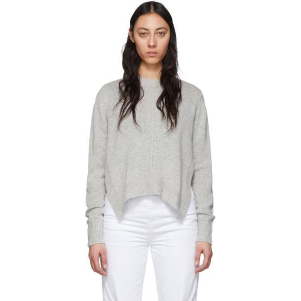 Isabel Marant Grey Cashmere Chinn Crewneck Sweater