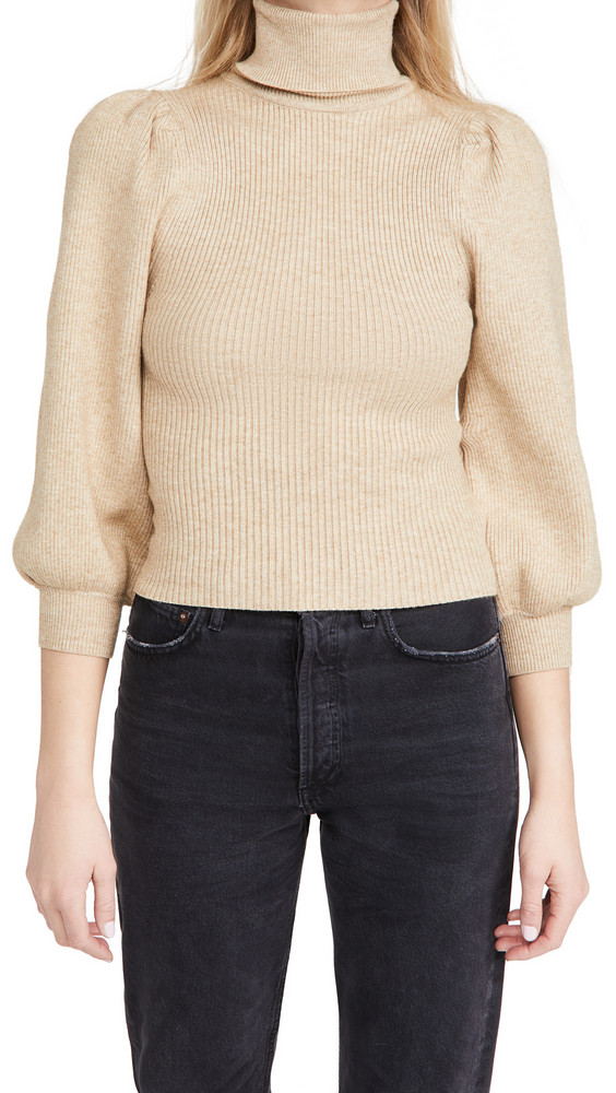 Line & Dot Aria Puff Sleeve Sweater in taupe