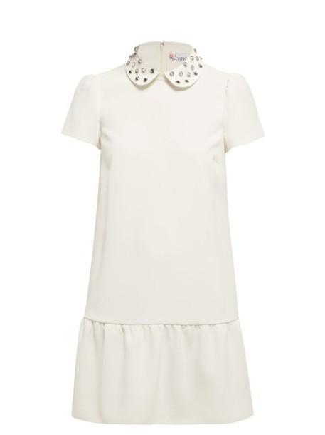 Redvalentino - Crystal Embellished Crepe Midi Dress - Womens - Ivory