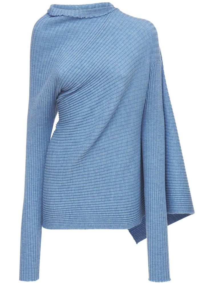 MARQUES'ALMEIDA Draped Wool Knit Turtleneck Sweater in blue