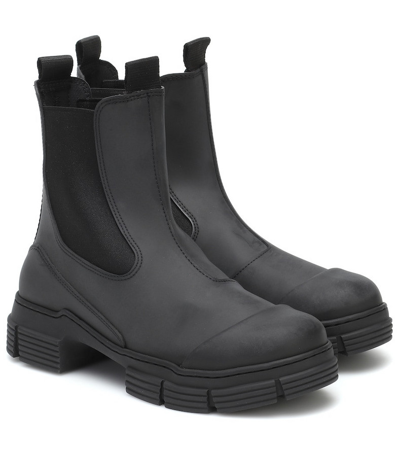 Ganni Rubber ankle boots in black