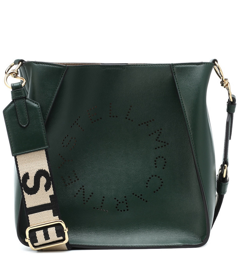Stella McCartney Stella Logo faux leather shoulder bag in green