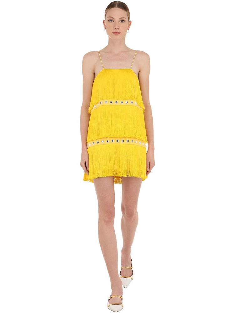 SARA BATTAGLIA Embellished Mini Dress W/ Fringes in yellow