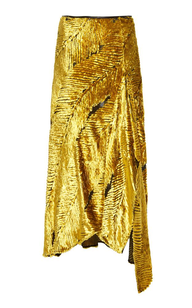 Petar Petrov Rahel Asymmetric Silk-Blend Midi Skirt Size: 36 in gold