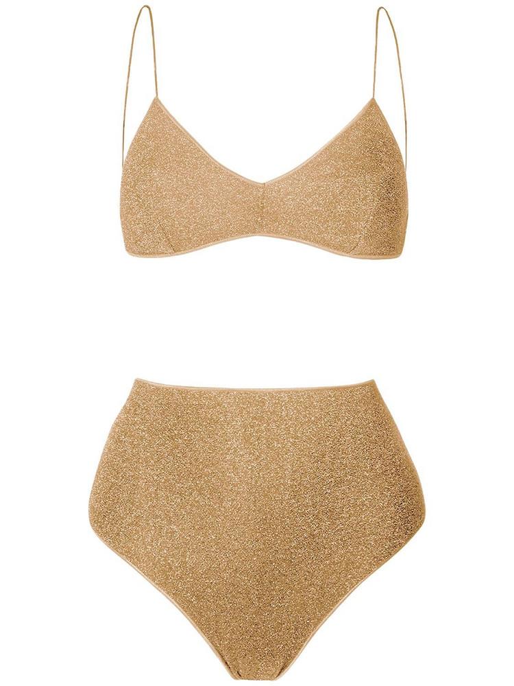 OSÉREE SWIMWEAR Lumièere High Waisted Lurex Bikini Set in gold