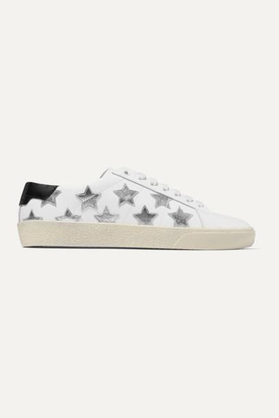 SAINT LAURENT - Court Classic Appliquéd Metallic-trimmed Leather Sneakers - White