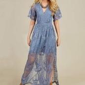 dress,lace,blue,light blue,v neck,v neck dress,boho dress,lace dress
