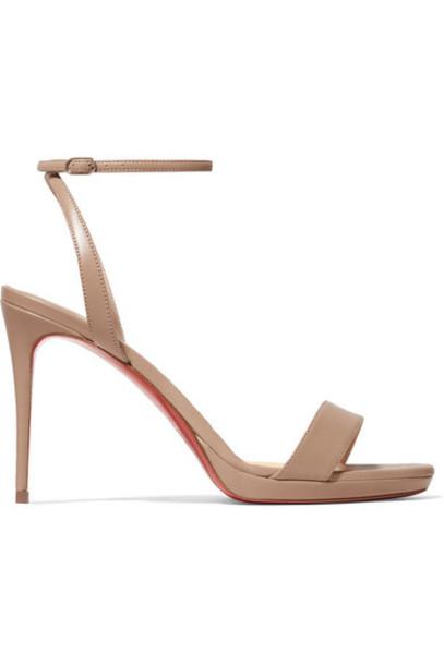 Christian Louboutin - Loubi Queen 100 Leather Sandals - Beige