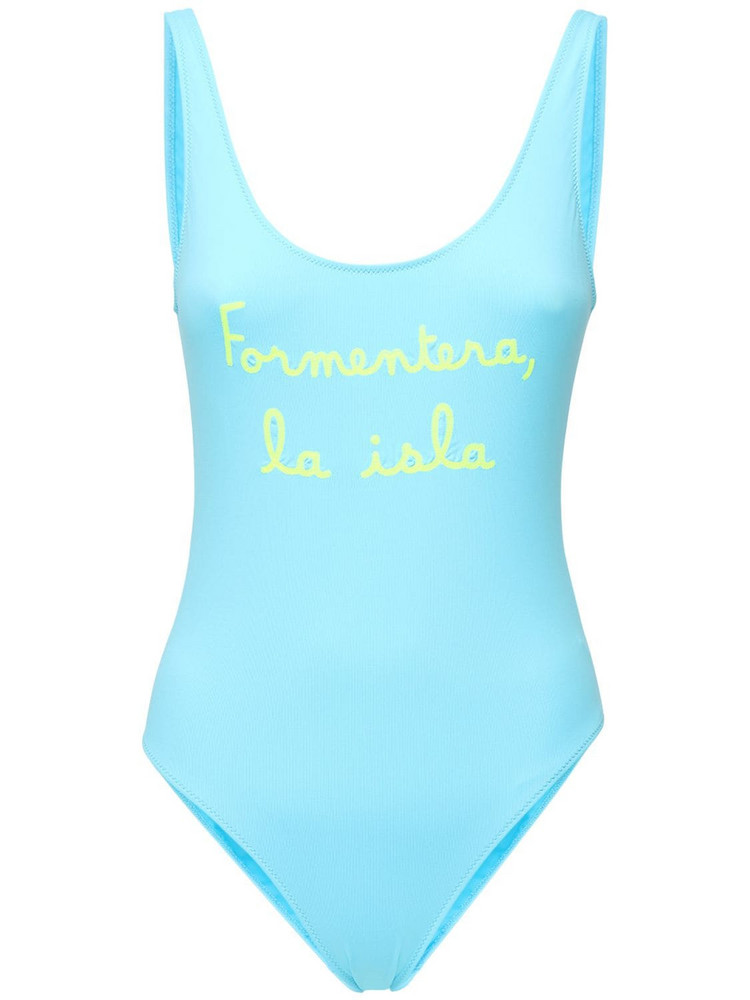 MC2 SAINT BARTH Lora Embroidered One Piece Swimsuit in blue / yellow
