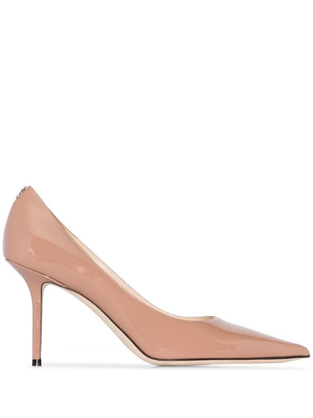 Jimmy Choo Love logo plaque detail 85mm pumps in pink