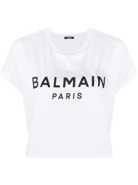 Balmain cropped logo print T-shirt in white