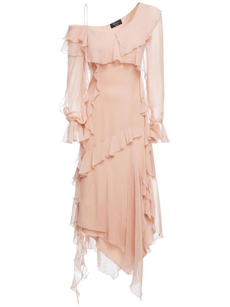 BLUMARINE Silk Georgette Asymmetric Dress